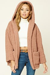 Forever 21 Faux Fur Hooded Jacket Mauve