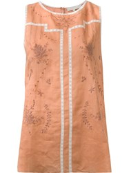 Vanessa Bruno Embroidered Tank Top Brown