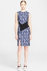 Prabal Gurung Contrast Panel Tweed Sheath Dress Blue