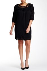 Want And Need Daisy Crochet Neck Ruffle Trim Dress Plus Size Black