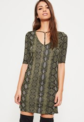 Missguided Green Snake Print Harness T Shirt Dress Khaki