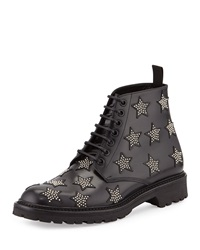 Army Star Studded Leather Boot Black Saint Laurent