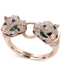 Effy Citrus By Diamond 1 2 Ct. T.W. And Tsavorite Accent Cat Ring In 14K Rose Gold
