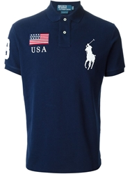 Polo Ralph Lauren Logo Patch Embroidery Polo Shirt Blue