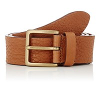 Barneys New York Men's Washed Leather Belt Tan