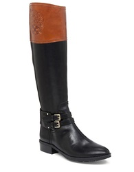 Vince Camuto Pyran Two Tone Leather Riding Boots Black