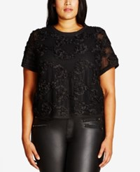 City Chic Trendy Plus Size Floral Mesh Crop Top Black