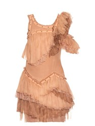 Roberto Cavalli Sleeveless Ruffle Silk Chiffon Dress Light Pink