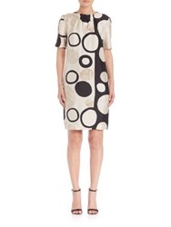 Piazza Sempione Geometric Printed Silk Dress Natural Black