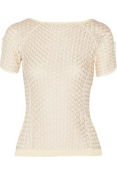 Nina Ricci Metallic Crochet Knit Cotton Blend Top White