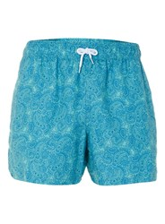 Topman Blue And Mint Green Paisley Swim Shorts