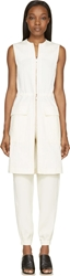 Cedric Charlier Ecru Sleeveless Rose Gold Zip Long Vest