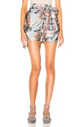 Zimmermann Winsome Ruched Short In Blue Floral Blue Floral