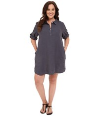 Allen Allen Plus Size Roll Sleeve Mock Placket Shirtdress Flint Women's Dress Beige