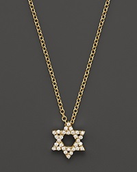 Meira T 14K Yellow Gold Star Of David Necklace With Diamonds .13 Ct. T.W.