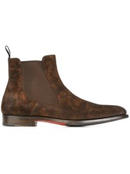 Santoni Distressed Chelsea Boots Brown