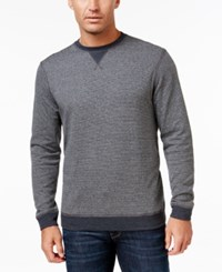 Tasso Elba Men's Big And Tall Colorblocked Stripe Sweatshirt Only At Macy's Onyx Heather