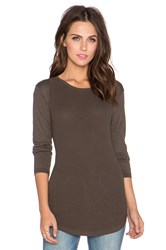 Autumn Cashmere Thermal Stitch Crew Sweater Olive