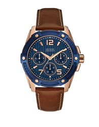 Guess Blue Dial Rose Golden Stainless Steel Watch Brown