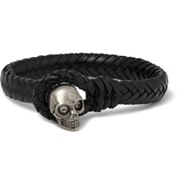 Alexander Mcqueen Woven Leather And Metal Skull Bracelet Black