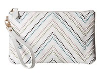 Mighty Purse Cow Leather Charging Wristlet Tribal White Handbags