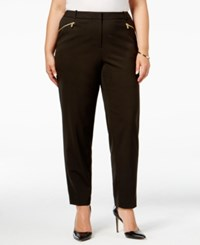 Calvin Klein Plus Size Zipper Pocket Skinny Pants Black
