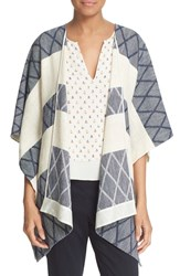 Tory Burch Women's 'Ryder' Poncho Style Cardigan Med Navy Ivory