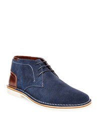 Steve Madden Hendric Perforated Suede Chukka Boots Navy