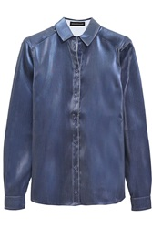 Ostwald Helgason Metallic Cotton Blend Shirt Blue