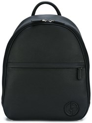 Giorgio Armani Front Zipped Backpack Black