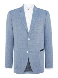 Peter Werth Jones Patch Pocket Linen And Wool Blazer Blue