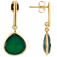 John Lewis Gemstones Gold Plated Teardrop Earrings Gold Green Onyx