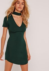 Missguided Choker Neck Short Sleeve Bodycon Dress Green Green