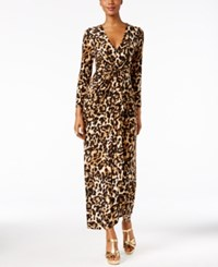 Thalia Sodi Embellished Tie Knot Wrap Maxi Dress Only At Macy's Leopard