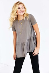 Truly Madly Deeply Dusty Road Peplum Tee Dusty Olive
