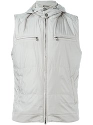 Eleventy Hooded Zip Gilet Nude And Neutrals