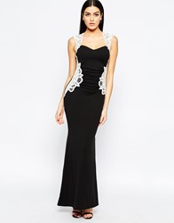 Lipsy Maxi Dress With Lace Side Detail Black