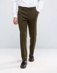 Asos Slim Suit Trousers In Khaki Harris Tweed 100 Wool With Real Leather Lapel Khaki Green