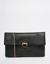 Warehouse Croc Effect Fold Over Clutch Bag Blacklizzard