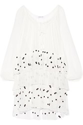 Elizabeth And James Irma Embroidered Crinkled Silk Chiffon Mini Dress