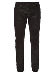 Saint Laurent Waxed Skinny Jeans Black