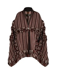 Burberry Fringed Herringbone Knit Cape Red White