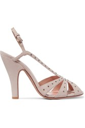 Valentino Crystal Embellished Suede Slingback Sandals Neutral