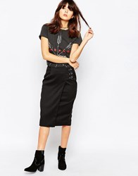 Daisy Street Pencil Skirt With Buckle Detail Black