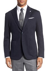 Lubiam Men's Classic Fit Stripe Cotton And Wool Sport Coat