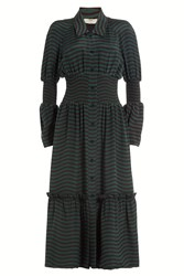 Fendi Striped Silk Dress Stripes