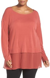 Eileen Fisher Plus Size Women's Sheer Hem Silk Jersey Bateau Neck Tunic Cinnabar