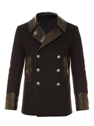 Balmain Leather Trim Wool And Cashmere Blend Pea Coat