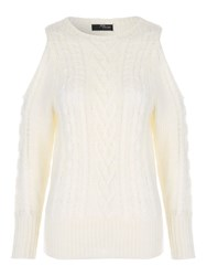 Jane Norman Cold Shoulder Cable Jumper Ivory