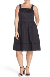 Sejour Plus Size Women's Square Neck Cotton Sundress Black